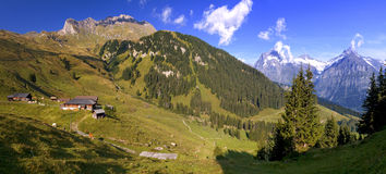 Swiss Valley - Grindelwald. Panoramic view of Busalp stock images