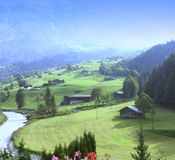 Swiss valley view Royalty Free Stock Images