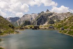 Swiss view. Beautiful lake between the Alps, Switzerland Stock Photo