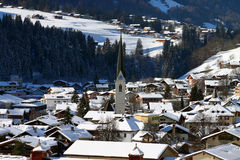 Swiss Village. Davos region, in a beautiful sunny winter day Royalty Free Stock Photos