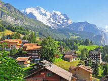 Swiss village in Alps Royalty Free Stock Image