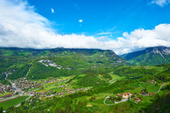 Swiss village at Alps Royalty Free Stock Image