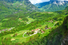 Swiss village at Alps Royalty Free Stock Photos