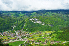 Swiss village at Alps Stock Image