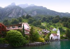 Swiss village on the lake stock images