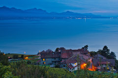 Swiss Village at Lavaux Vineyard Terrace. A Swiss village facing Lake Geneva at the Vineyard Terraces (a UNESCO World Heritage Site) in Lavaux, Switzerland. The Royalty Free Stock Photos