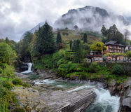 Swiss village in the mountains Royalty Free Stock Images