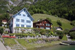 Swiss village Quinten Royalty Free Stock Photos
