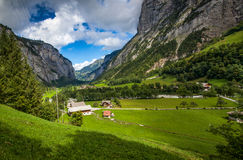 Swiss village of Stechelberg. View of the village of Stechelberg in ther Bernese Oberland region of Switzerland Royalty Free Stock Photos