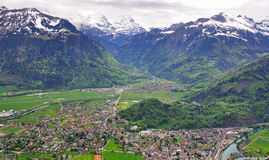 Swiss village top view. Interlaken and Harderkulm Stock Photography