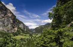 Swiss village in valley near Trummelbach Falls Trummelbachfalle Lauterbrunnen, at Swiss Alps stock photos