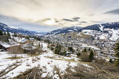 Swiss Village in winter Royalty Free Stock Photo