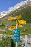 Swiss walking direction sign post in Lotschental Valais, Switzerland. LOtschental, Valais,Switzerland - August 11th 2011: Signposts on footpaths In Lotschental Royalty Free Stock Photography