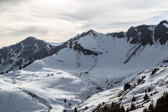 The Swiss Wall. Gazing at the Swiss ski run, Le Mur (aka The Wall Royalty Free Stock Image