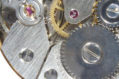 Swiss Watch. Macro shot showing close up detail of the mechanics of a Swiss watch Stock Images