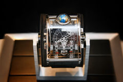 Swiss watches on blurred background of watch box Stock Image