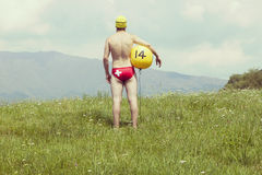Swiss waterpolo player on the grass ( not in the water ) Stock Photography