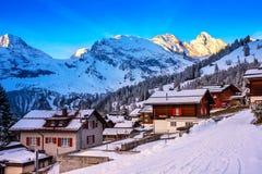 Swiss wood chalet in Murren, Jungfrau region, Switzerland. Stock Images