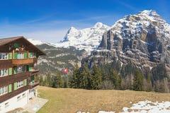 Swiss wood chalet in Murren, Jungfrau region, Switzerland. Stock Image