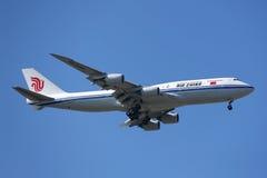 Swissair Airbus A330 in New York sky before landing at JFK Airport Stock Photo