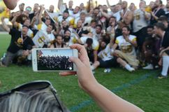 SWISSBOWL XXXI. Grizzlies' Players team photo on a smartphome Stock Photography