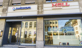 Swisscom Communications retail store. Very high resolution, 42.2 megapixels. Swisscom Shop in central Basel, Switzerland. Swisscom is Switzerland's royalty free stock photos