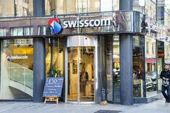 Swisscom Shop. In central Geneva, Switzerland. Swisscom is Switzerland's leading telecoms provider, with its headquarters in Ittigen, near the capital royalty free stock image