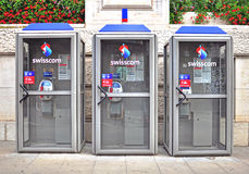Swisscom telephone booths. GENEVA, SWITZERLAND - AUGUST 17: Telephone booths of Swisscom in the  street of Geneva on August 17, 2015. Swisscom AG is a major Stock Image