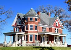 Swisstown Farmhouse. This is a Fall picture of the J.W. Cristina House located in Beloit, Wisconsin. The stone/brick house built in 1904 is an example of the royalty free stock photos