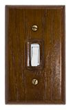 Switch. Wooden switch plate with on/off switch Stock Image