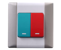 Switch. A duo color electrical switch Stock Photos