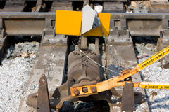 Switch. A rail switch on the railroad Stock Images