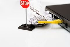 Switch with broken cable and stop sign. A Switch with broken cable and stop sign Stock Photo