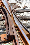 Switch at broken railroad tracks. Rusted and dilapidated railroad tracks with a track switch Royalty Free Stock Image