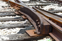 Switch at broken railroad tracks. Rusted and dilapidated railroad tracks with a track switch Stock Images