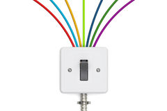 Switch with colorful cables, 3D rendering. Isolated on white background Royalty Free Stock Photo