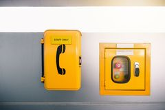 Switch control box and emergency call in skytrain station.  royalty free stock images