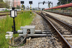 Switch control and signaling for railway junction. Switch control and signalling for railway turn on the left, railway junction stock image