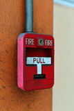 Switch fire alarm on brick wall Royalty Free Stock Photo