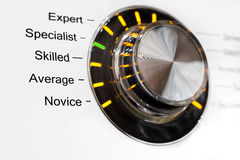 Switch five skill levels. Concept of skill level in the form of a ring switch Stock Images