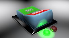 Buy and Sell switch set on Buying position - 3D rendering. A switch gives two options: buy and sell. Buying is selected - 3D rendering Royalty Free Stock Photos