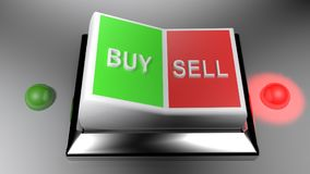 Buy and Sell switch set on Selling position - 3D rendering. A switch gives two options: buy and sell. Selling is selected - 3D rendering Stock Photography