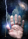 Switch on hand and electric jolt Royalty Free Stock Image
