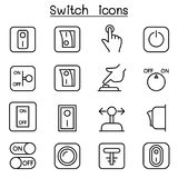 Switch icon set in thin line style. Vector illustration graphic design Royalty Free Stock Photos