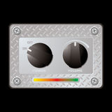 Switch metal panel duo. Silver metal plate with two plastic knobs with power and volume switch Royalty Free Stock Photo