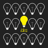 Switch n and off light bulb set. Idea concept.  Funny background Flat design Royalty Free Stock Photo