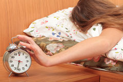 Switch off an alarm clock Royalty Free Stock Image