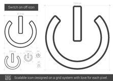 Switch on off line icon. Switch on off vector line icon isolated on white background. Switch on off line icon for infographic, website or app. Scalable icon vector illustration