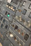 Switch Panel. Panel of switches on an aircraft flight deck stock photos