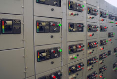 Switch panel. Industrial electrical switch panel in factory stock photos